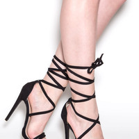 Wrapped Up Faux Suede Lace-Up Heels