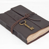 Dark Brown Leather Journal with Tea Stained Paper and Key Bookmark