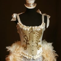 OLYMPIAN White Gold Burlesque Corset Costume FEATURED by olgaitaly