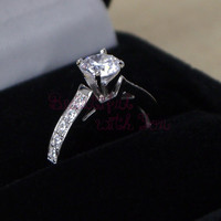 Promise Ring for Her,Womens Band,Sterling Silver Ring,Simulated Diamond Promise Ring, White Gold Plated,Engagement Rings,Gift For Her, DVIEC