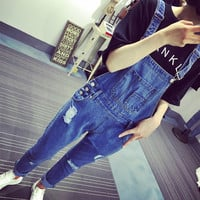 2016 Summer New Arrival Fashion Casual Overalls For Women Hole Ripped Jeans Denim Pants Rompers And Jumpsuits With Pocket
