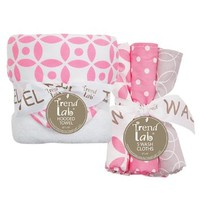 Trend Lab 6 Piece Hooded Towel and Wash Cloth Set - Lily