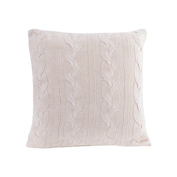 Cable Knit Natural Cotton Cushion/Pillow In White - COVER ONLY