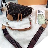 LV Fashion saddle bag retro print women's bag wide shoulder strap single-shoulder cross-body bag carrying bag