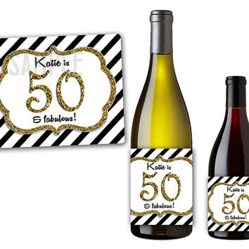 Elegant Glitter Stripes Wine Bottle Labels - 50th Birthday Party Favors - Personalized Champagne Bottle Label Party Favor ANY AGE