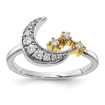 14k White and Yellow Gold Moon with Stars Diamond Ring