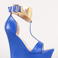 Liliana Cora-1 Metallic Cuff Open Toe Platform Wedge