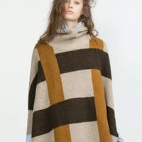 Plaid Pattern Turtleneck Pullover Knitted Cape Sweater