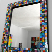 LARGE - JEWEL Colors Stained Glass Mosaic Mirror