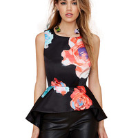 Black Floral Print Sleeveless Peplum Top