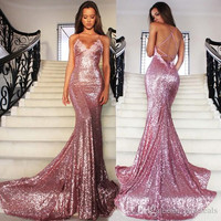 Rose Pink Glitz Sequined Mermaid Prom Dresses 2018 Spaghetti Strap Sexy Backless Sweep Train Formal Evening Dresses