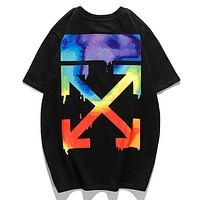 Off  White Summer New Multicolor Arrow Letter Print Women Men Sports Leisure Top T-Shirt Black