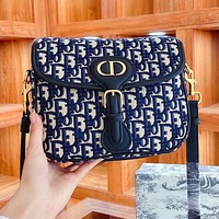 Dior fashion monogrammed print casual ladies small square bag one shoulder cross-body bag flip bag