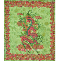 Green Chinese Dragon Fly Tapestry Wall Hanging, Tie Dye Sheet on RoyalFurnish.com
