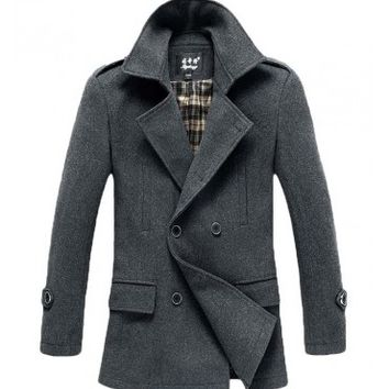 The Foster Wool Peacoat Grey - leatherandcotton