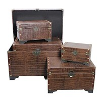 Vintage Styled 5pc Leather Trunks