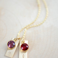 Dainty Gold Filled Initial Bar Necklace with Birthstone - Mother's Necklace