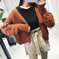 Women Solid Color Loose Long Sleeve Knitwear Sweater Tops Cardigan Short Coat