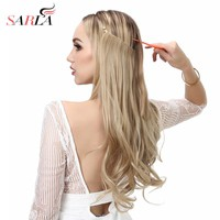 "SARLA 14"" 16"" 18"" Synthetic Flip In Natural Wave Halo Hair Extensions Invisible Hidden Secret Wire Crown Headband Hair Extension"