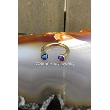 Septum piercing ring opal 16g daith hoop ring ear rings purple opals rose gold anodized titanium hypoallergenic helix earring 1 curved bar