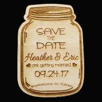 Personalized Rustic Country Wooden Mason Jar Wedding Save the Date Magnet, Custom Engraved Invitation