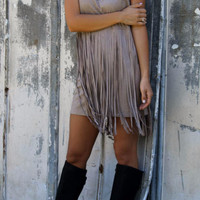 Shades of Suede Gray Sleeveless Suede Dress With Layered Fringe