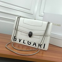 HCXX 19June 302 BVLGARI Serpenti Forever Pop-hear Flap bag Fashiong Shoulder Bag 28-19-7 white