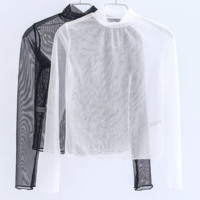 FREE SHIPPING Spring clothing new style slim - fitting style half - high - neck long - sleeve perspective T - shirt at the bottom of the shirt