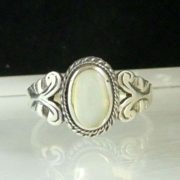 Vintage AVON 925 Sterling Silver White Opal Ring, Antique Finish, Size 9