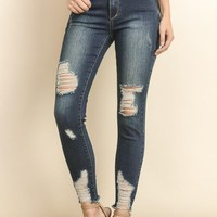 Miami Distressed Frayed Skinny Denim