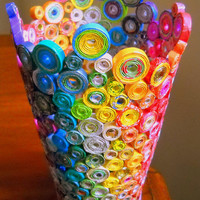 $75.00 Upcycled Rainbow Vase Sculpture made from by MaryJeansThings