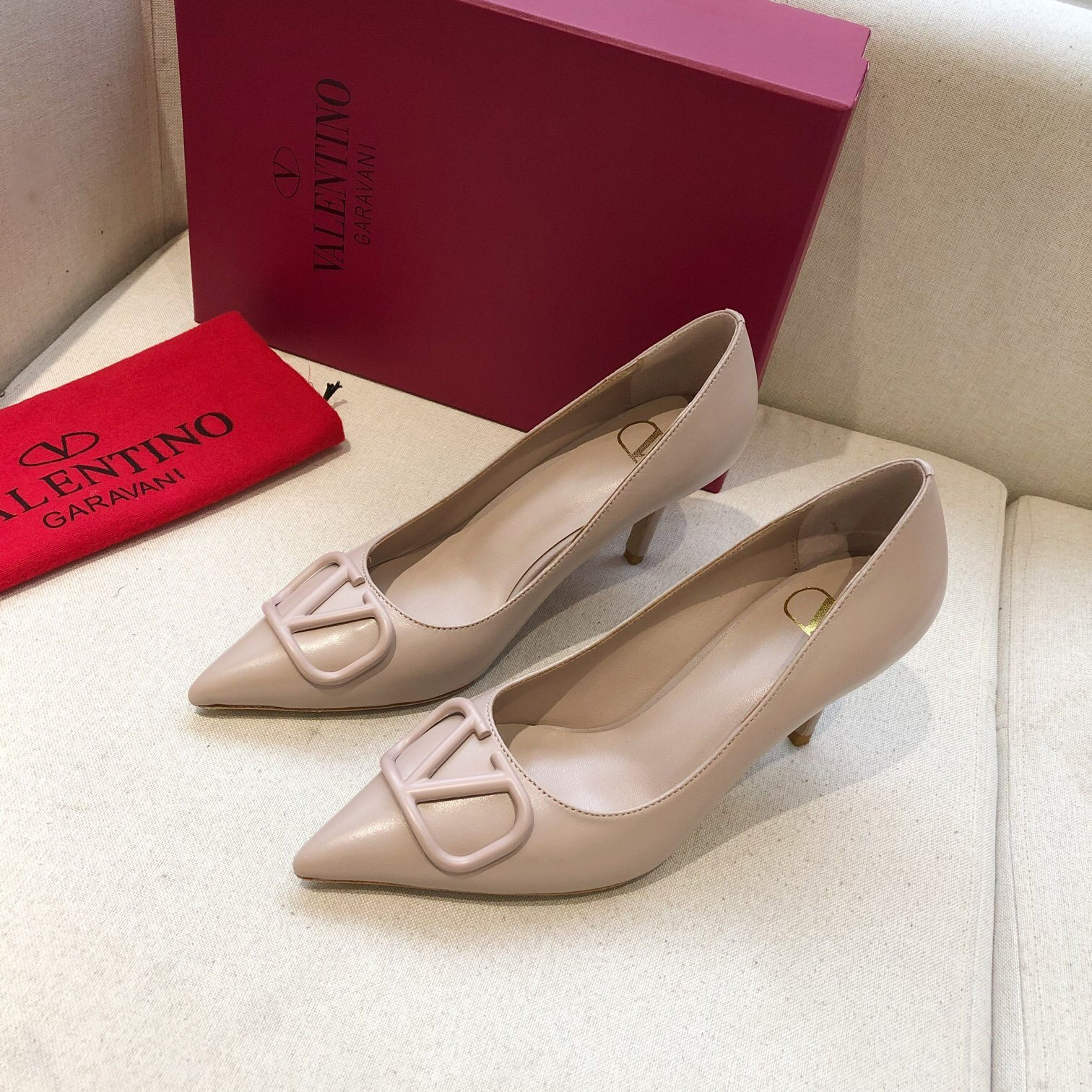 Image of Valentino  Big V-button shoes  Heel height 7 cm