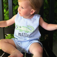 Personalized Boy's Blue and White Seersucker Shortall/Jon Jon with Alligator Applique,Sizes 3 months to 3T,you choose font