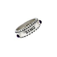 Sing For Life Sterling Silver Gemstone Spin Ring