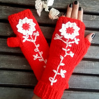 Knitted Gloves,Crochet,Handmade,Hand Warmer,Red Gloves,Winter Gloves,Flowers Gloves,Knit Women Gloves,Arm Warmers,Gift Ideas, Christmas Gift