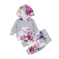 Winter Baby Clothing born Toddler Baby Boy Girl Floral Hooded Tops Pants Outfits Clothes