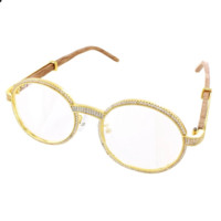 Men's Round Iced Out Wooden Frame Hip Hop Sunglasses