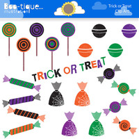 Halloween Candy Digital Clipart. Halloween Candy Clip Art. Halloween Clip Art. Halloween Graphics. Trick or Treat Cliparts. Candy Vectors