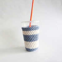 iced coffee cozy. Crochet coffee cozy. Blue and white cup cozy. Cotton cup sleeve. Eco friendly cup jacket. Summer drink cozy. Striped cozy