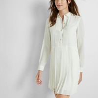 Pleated Skirt Shirt Dress
