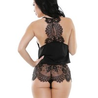 Fantasy Lingerie Sleep Sadie Lace Top & Shortie Black