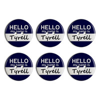 Tyrell Hello My Name Is Plastic Resin Button Set of 6