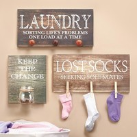 Unique Laundry Room Wall Art Signs Home Decor Gift Set, Sorting,Socks,Change