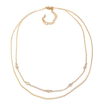 Crystal Accent Double Chain Satellite Choker Necklace