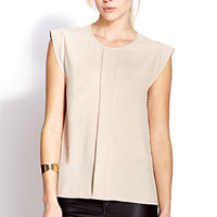 FOREVER 21 Boxy Pleated Blouse Taupe