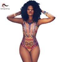 Tengweng 2017 Sexy South African Print One Piece Swimsuit Swimwear Women High Cut Backless Bathing Suit Vintage Monokini Beach