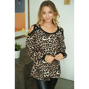 Wildly Obsessed Leopard Print Cut Out Long Sleeve Top