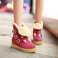 Fur Snow Boots with Platform Wedges Buckle Women Shoes