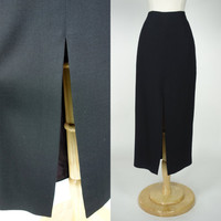 1980s black wool skirt, high front slit pencil skirt, 80s does 50s, greaser girl, high waist bombshell vixen skirt, Small, size 6