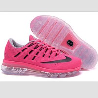 NIKE Trending Fashion Casual Sports Shoes AirMax Toe Cap hook section knited Roses balck hook Transparent soles